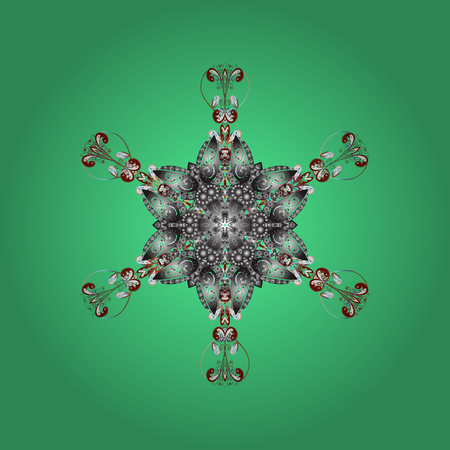 Repeated texture for surface, wrapping paper, Snowflake on green, gray and white colors. Winter snowflakes, vector background.