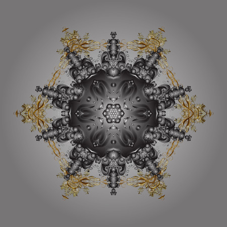 Snowflakes radial gray, brown and beige colors. Isolated nice snowflakes on colorful background.Vector illustration. Illustration