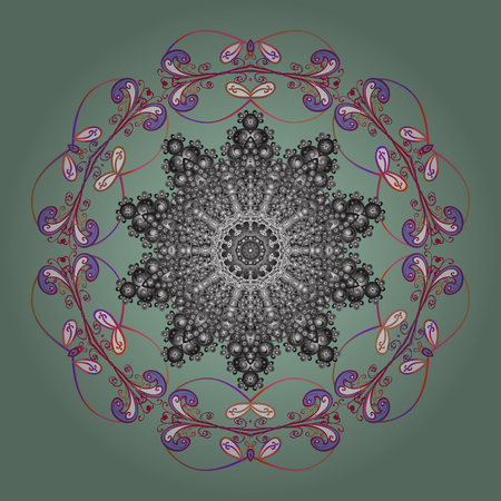 Christmas Stylized neutral, gray and purple Snowflakes on a neutral, gray and purple colors. Vector illustration.