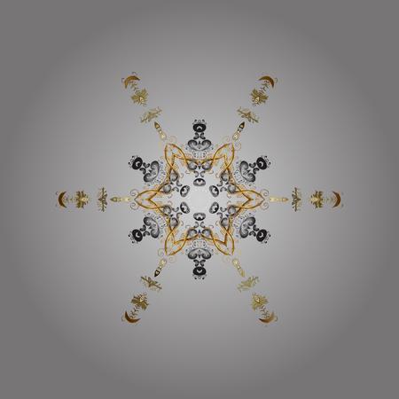 Graue, braune und beige Farbe des Schneeflockevektor-Ikonenhintergrundes. Vektor. Wetter Illustration Eis Sammlung. Winterweihnachtsschnee flaches Kristallelement. Weihnachtsfrostschneeflocke lokalisierte Schattenbildsymbol.