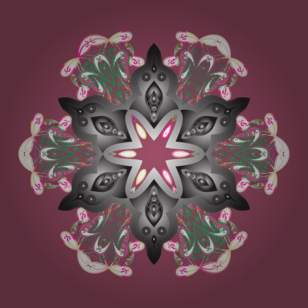 Pink, gray and white snowflakes on a pink, gray and white colors. Snowflake vector pattern. Vector illustration. Isolated cute snowflakes on colorful background.