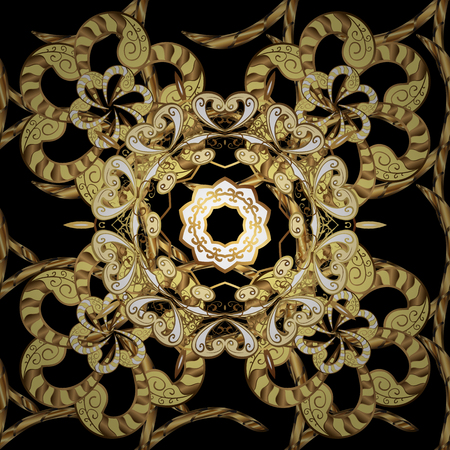 Golden element on black, yellow and brown colors. Vintage baroque floral seamless pattern in gold over black, yellow and brown. Luxury, royal and Victorian concept. Ornate vector decoration.