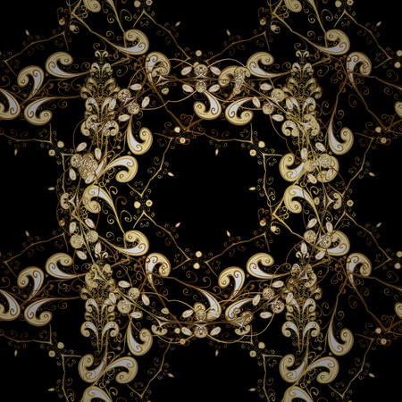 Floral ornament brocade textile pattern, glass, metal with floral pattern on black, brown and beige colors with golden elements. Classic vector golden seamless pattern.
