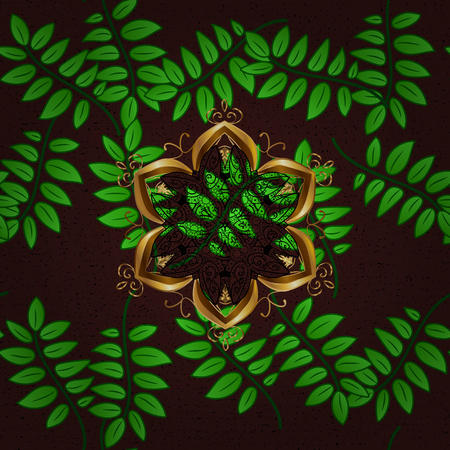 Varicolored vector seamless illustration. Tropical seamless pattern with many brown, green and black abstract flowers.