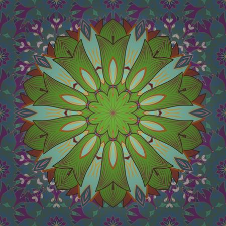 Arabic Vintage decorative ornament. Vector Mandala colored on blue, green and purple colors.