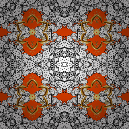 White, black and orange colors with colored ornament mandala, based on ancient greek and islamic ornaments. For wedding invitation, book cover or flyer. Illustration