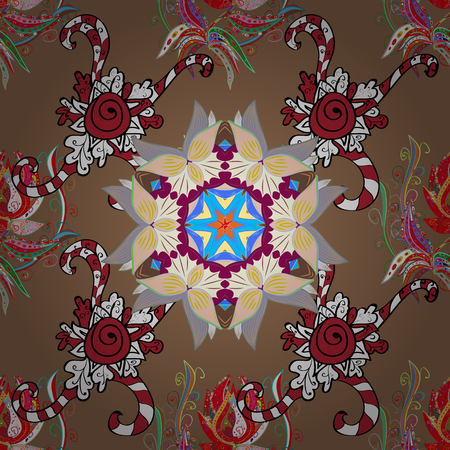 Hand drawn colored Mandala seamless pattern. Magic template of greeting, print, cloth. Arabic, indian, turkish and ottoman culture decoration style. Ethnic ornament on brown, neutral, red colors.