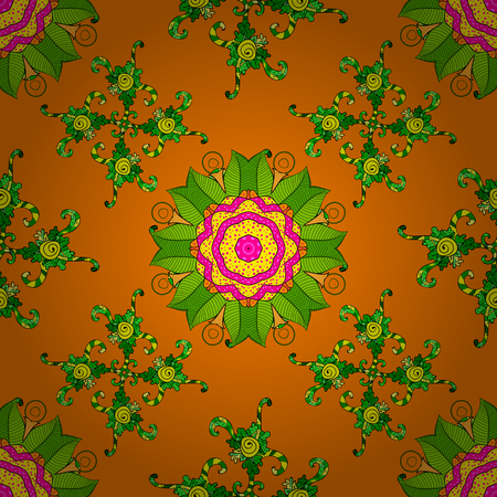 Gentle, spring floral on orange, green and yellow colors. Vector illustration. Exploding flowers abstractly placed. Vector pattern.