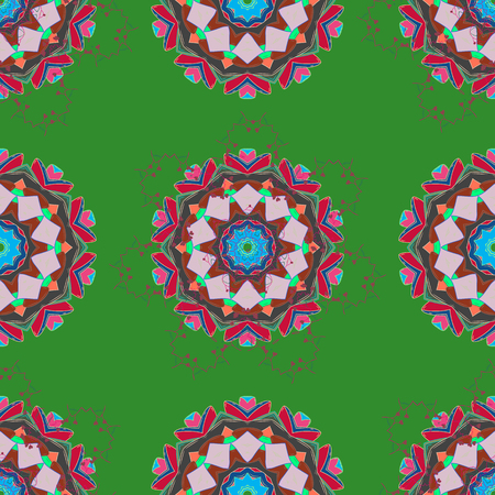 Bag design. Hand-drawn vector mandala with colored abstract pattern on a green, neutral and gray colors.