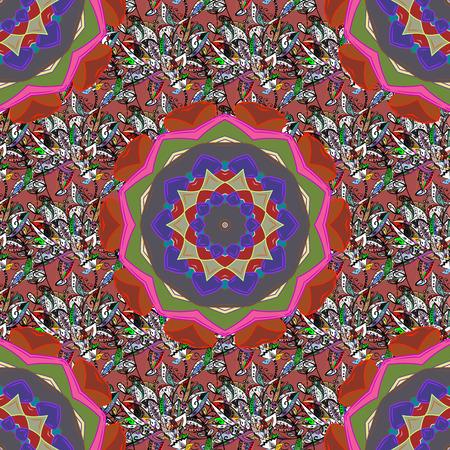 Vector Mandala pattern on pink, black and brown colors. East, Islam. Arabic Vintage decorative ornament. Mandala colored background.