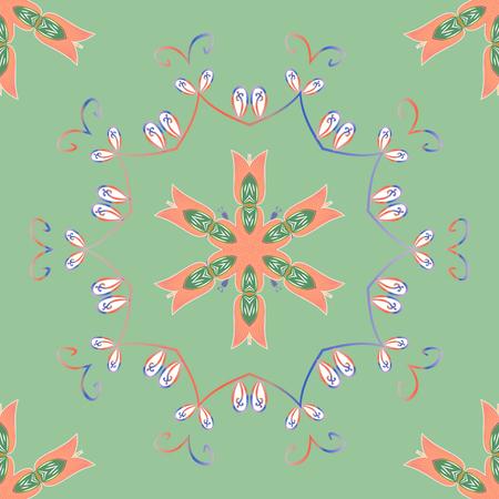 Vector Mandala pattern on neutral, orange and green colors. Mandala colored background. East, Islam. Arabic Vintage decorative ornament.