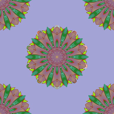 Colored mandala pattern. Ethnic texture. Vintage decorative ornament on neutral, purple and green colors. Vector East, Islam, Indian, motif, revival swirling. Orient, symmetry lace, fabric, sketch. Çizim