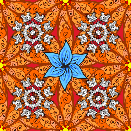 Presentation with mandala. Colored layout on orange, brown and black colors. Modern vector template for brochure leaflet flyer cover catalog magazine or annual report. Flowers design book layout.