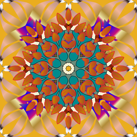 Yellow, beige, orange. Vector ornate zentangle seamless texture, pattern with abstract floral mandalas on yellow, beige and orange colors. Summer seamless pattern with stylized flowers. For web page.