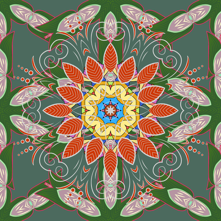Green, neutral and gray colors. Mandala vector floral flower oriental coloring book page outline template carpet. Seamless pattern with flowers. 版權商用圖片 - 91776618