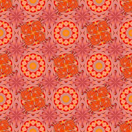Vector Mandala colored on orange, pink colors. East, Islam, Thai, Indian, ottoman motifs. Arabic Vintage decorative ornament. Mandala pattern. Orient, symmetry lace, meditation symbol. Ethnic texture. 일러스트