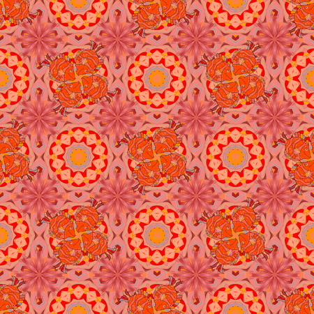 Vector Mandala colored on orange, pink colors. East, Islam, Thai, Indian, ottoman motifs. Arabic Vintage decorative ornament. Mandala pattern. Orient, symmetry lace, meditation symbol. Ethnic texture. Vettoriali