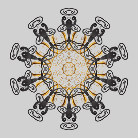 Snowflakes collection. Fine winter ornament. Vector illustration. Isolated of vector gray, brown and beige snowflakes.