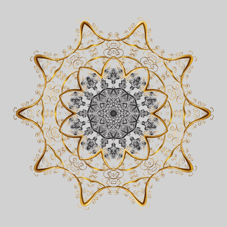 Abstract winter gray, brown and beige ornament, Round vector snowflake Isolated cute snowflakes on colorful background.