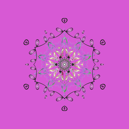 Round vector snowflake. Isolated cute snowflakes on colorful background. Fine snowflake. Abstract winter violet, gray and blue ornament. 일러스트