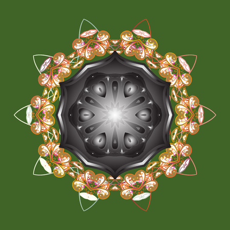Green, gray and orange snowflakes on a green, gray and orange colors. Vector illustration. Isolated cute snowflakes on colorful background. Snowflake vector pattern.