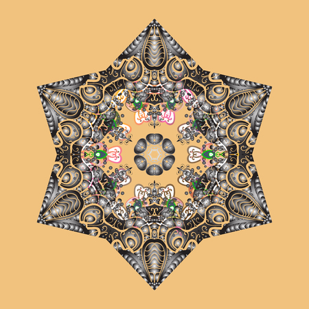 Vector illustration. Christmas Stylized beige, gray and brown Snowflakes on a beige, gray and brown colors.