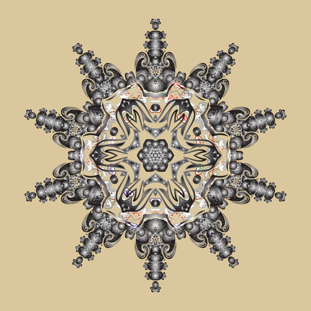 Ethnic of Lace Snowflakes. Stylized Flowers. Decorative Texture Background of Mandalas. Design for Fabric or Sketch. Vector illustration. Folk Style. Lacy Fashion Print for Textile. Illustration