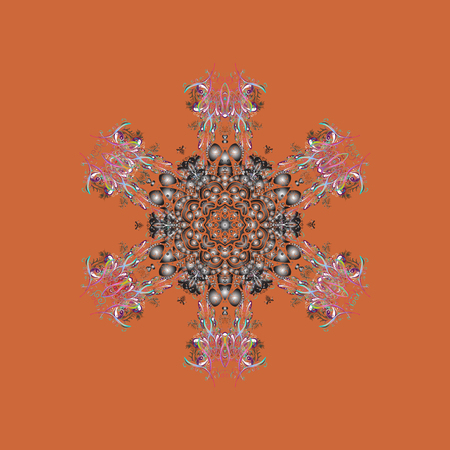 Snowflakes collection. Fine winter ornament. Vector illustration. Isolated of vector orange, gray and brown snowflakes.