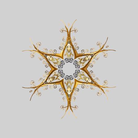 Abstract mandala or magical snowflake line art design.  イラスト・ベクター素材