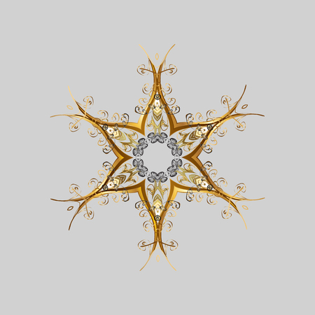 Abstract mandala or magical snowflake line art design. Vettoriali