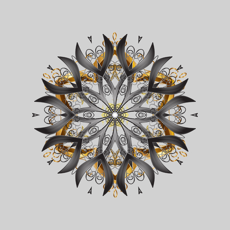 Round vector snowflake. Fine snowflake. Abstract winter gray, brown and yellow ornament. Vector illustration. Isolated cute snowflakes on colorful background.