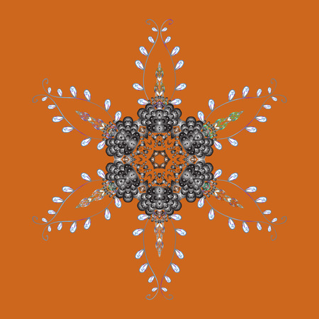 Symbol of winter, Merry Christmas holiday, Happy New Year celebration Vector. Snowflake simple. Abstract sketch, wrapping decoration. Orange, gray and white snow on orange, gray and white colors. Illustration