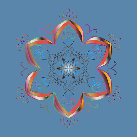 Cute abstract snowflake vector design. Flat snow doodle icons, snow flakes silhouette in blue, gray and pink colors for christmas banner, cards. New year snowflake. Illustration