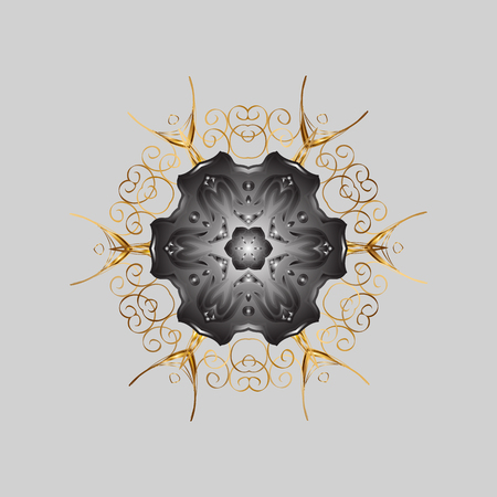 Repeated texture for surface, wrapping paper, Snowflake on gray and yellow colors. Winter snowflakes, vector background.