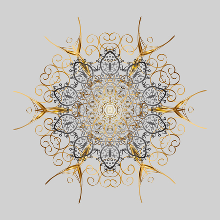 Winter snowflakes, vector background. Repeated texture for surface, wrapping paper, Snowflake on gray and yellow colors.