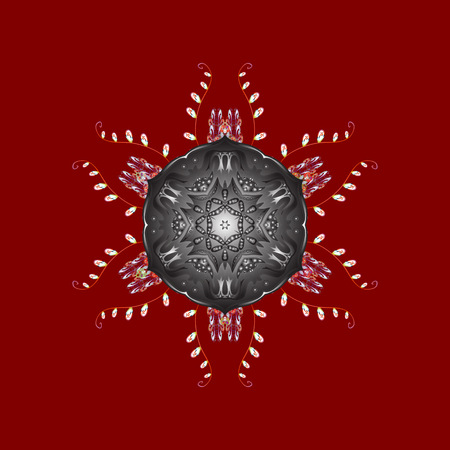 Symbol of winter. Beautiful decoration. Isolated watercolor snowflakes on red, gray and brown colors. Vector illustration with red, gray and brown isolated snowflakes.  イラスト・ベクター素材
