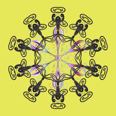 Vector illustration. Snowflake ornamental pattern. Flat design of snowflakes isolated on colorful background. Snowflakes pattern. Snowflakes background.