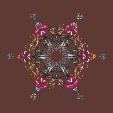 Vector illustration with brown, gray and pink isolated snowflake. Isolated watercolor snowflakes on brown, gray and pink colors. Beautiful decoration. Symbol of winter.