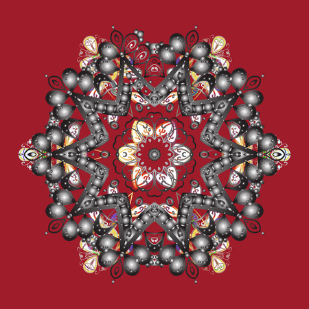 Snowflakes collection. Isolated of vector red, gray and white snowflakes. Fine winter ornament. Vector illustration.  イラスト・ベクター素材