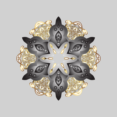 Vector illustration. Snowflake isolated on gray, brown and white colors. Snowflake Icon. Vector illustration.  イラスト・ベクター素材