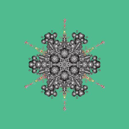 Cute ornament object. Snowflake ornament Vector illustration. Snowflake isolated. Snowflake ornament on a green, gray and brown colors.