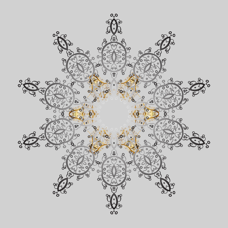 Snowflakes radial gray and yellow colors. Isolated nice snowflakes on colorful background.Vector illustration.