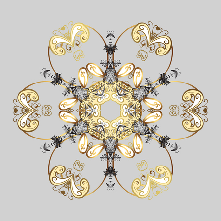 Fine winter ornament. Colorful snowflakes Vector illustration. Isolated of vector gray and yellow snowflake. Illustration