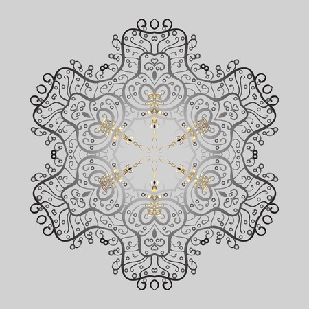 Vector illustration. Stylized Flowers. Folk Style. Design for Fabric or Sketch. Lacy Fashion Print for Textile. Ethnic of Lace Snowflakes. Decorative Texture Background of Mandalas. Illustration