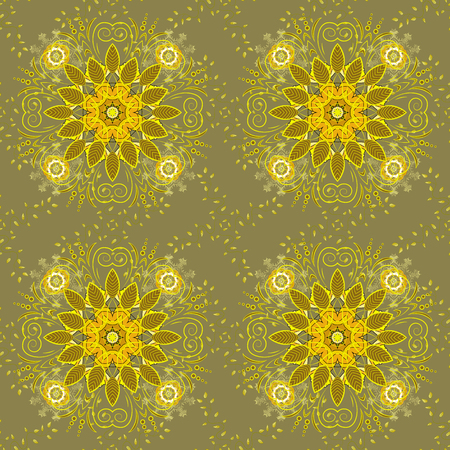 Outline. Vector doodle seamless pattern with ethnic mandala ornament on a neutral, yellow and brown colors. Vettoriali