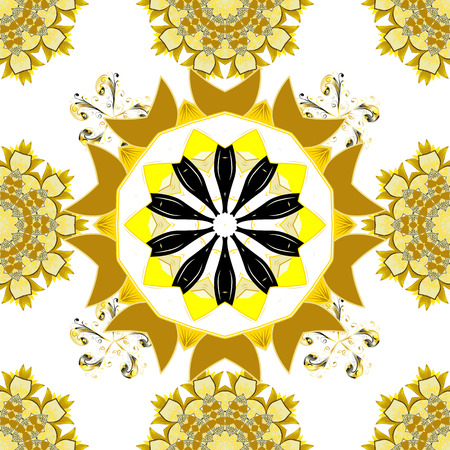 Colored over white, yellow and beige. Decorative Indian Round Mandala on white, yellow and beige colors. Islam, Arabic, Indian, Turkish, Pakistan. Christmas Card Mandala Design. Vintage pattern.