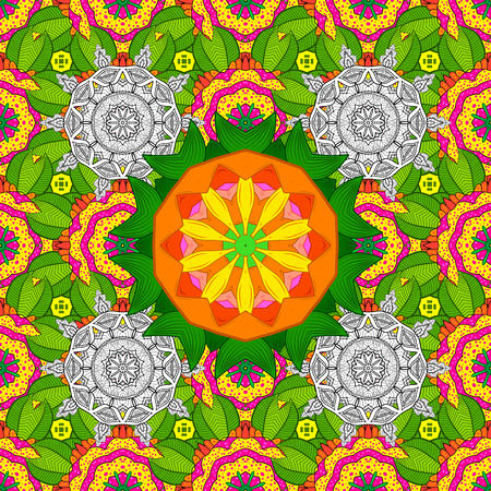 Vector geometric circle elements. Spiritual and ritual symbol of Islam, Arabic, Indian religions. Oriental motifs. Colored Mandala. Round Ornament Pattern on a green, yellow and white colors.