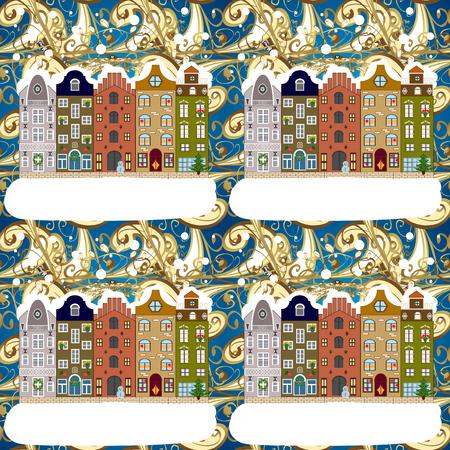 Urban winter landscape. Vector illustration. Flat design. Christmas card Happy Holidays banner. Snowy street.