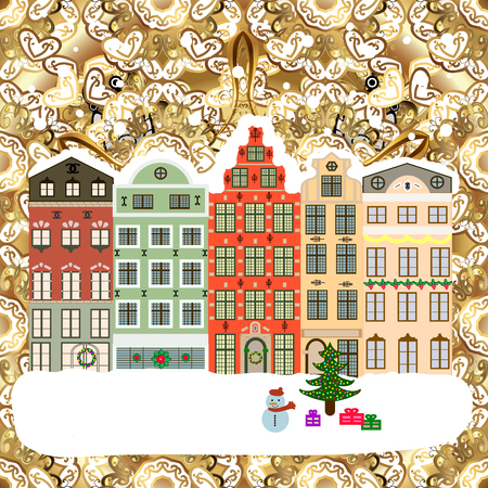 Buildings and facades. Winter day in cosy town street scene. Snowfall on Christmas eve. Classic European houses landscape with Christmas holiday decorations. Vector illustration. Vector illustration.