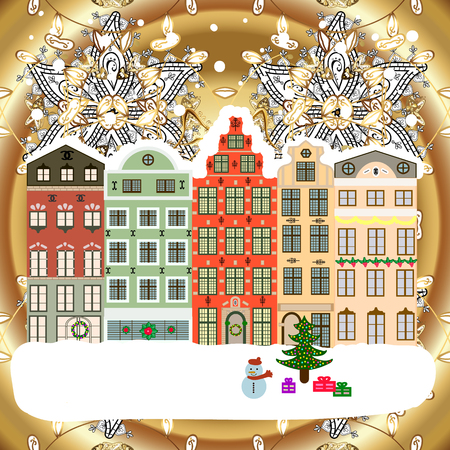 Feiertagshintergrund mit einem Weihnachtsbaum und Häusern über einem Hintergrund . Vektor-Illustration